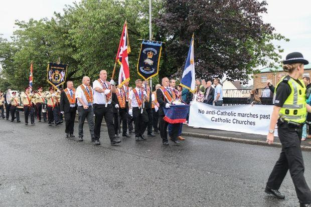 Campaigners previously protested at an Orange march in Linwood