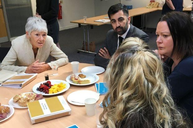 Bea Jones, left, Humza Yousaf and Kate Wallace, Chief Executive of Victim Support Scotland, hear from a woman bereaved by crime