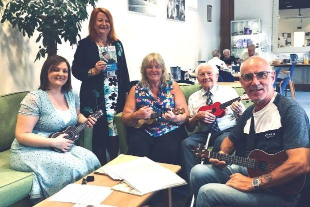 Left to right: Councillor Natalie Don with Caroline McDonald, of Action on Hearing Loss Scotland, ukulele teacher Carol Jamnejad and veterans Frank Coyle and Tommy Addison