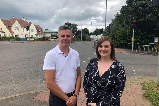 Derek Mackay and Natalie Don at the junction of Greenock Road and Ferry Road
