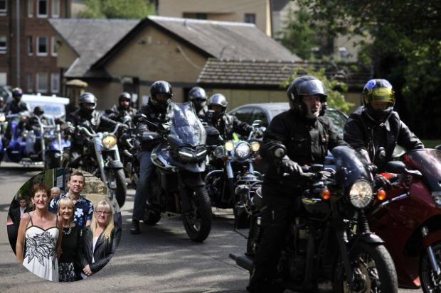 Bikers came from all over Scotland for the occasion while George's widow Diane (inset) wore her wedding dress