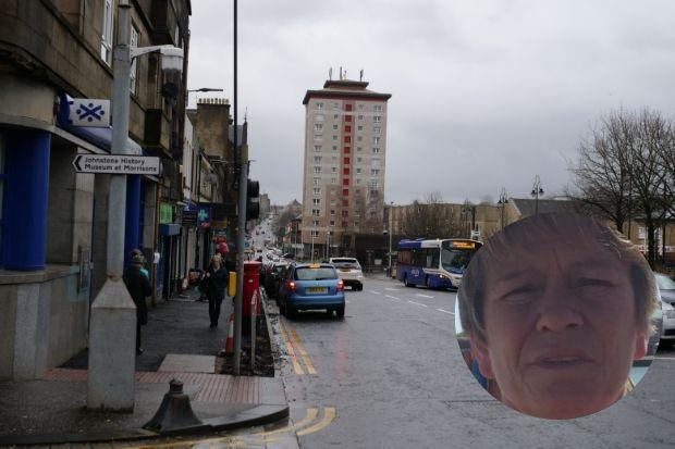 Carolyn Stirling (inset) is known to frequent Johnstone town centre