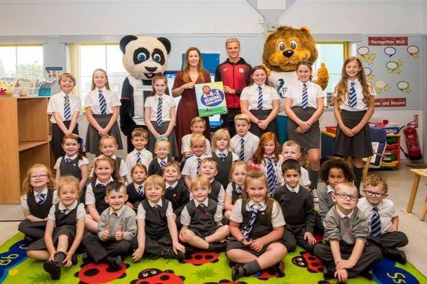 Pupils at Thorn Primary were joined by St Mirren striker Cody Cooke and mascot Paisley Panda, while the SPFL Trust was represented by chief executive Nicky Reid and mascot Lomond the lion