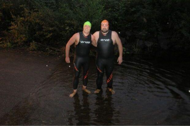 Colin Lavety and Paul McGuire were in at the deep end for their charity challenge