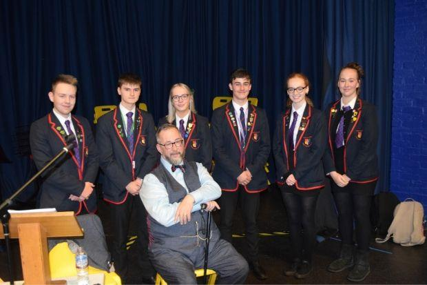 Mike Haines with pupils from Gryffe High
