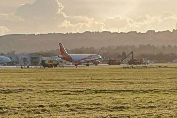 Flights delayed after plane bursts tyre on landing at airport