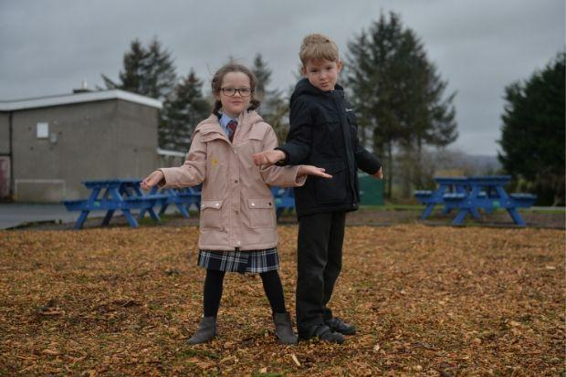Howwood Primary pupils Aria and Cas are keen to use the new area in their school playground