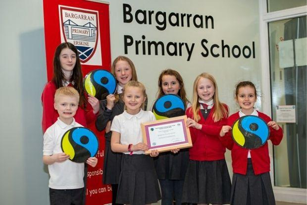 Children at Bargarran Primary with the John McDowell Award
