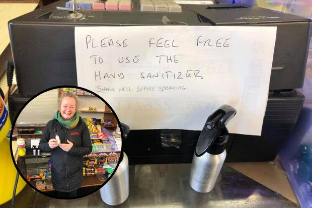 Village shop gives away free homemade hand sanitiser