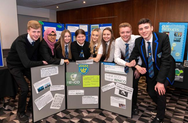 The team from Renfrew High with their display