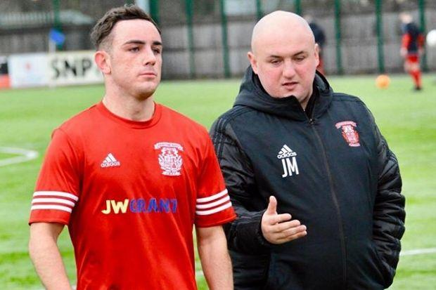 Burgh gaffer Jamie McKim (right) with player Sam Esplin Photo: Kenneth McWilliam