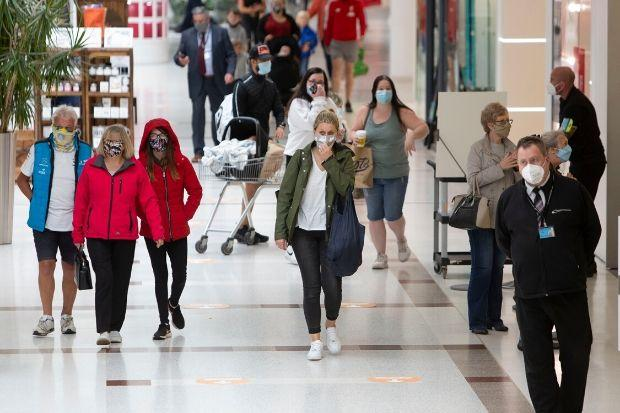 Visitors at the intu Braehead shopping centre as it fully reopens after months of lockdown