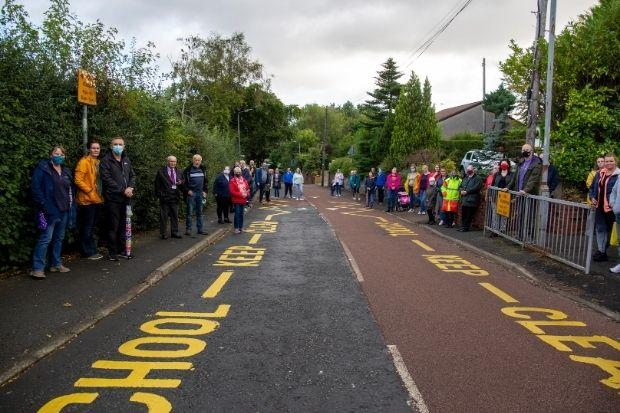 Parents and councillors protest in Bowfield Road, Howwood