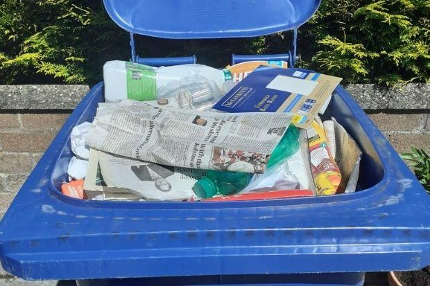 Blue recycling bins should only contain paper and cardboard