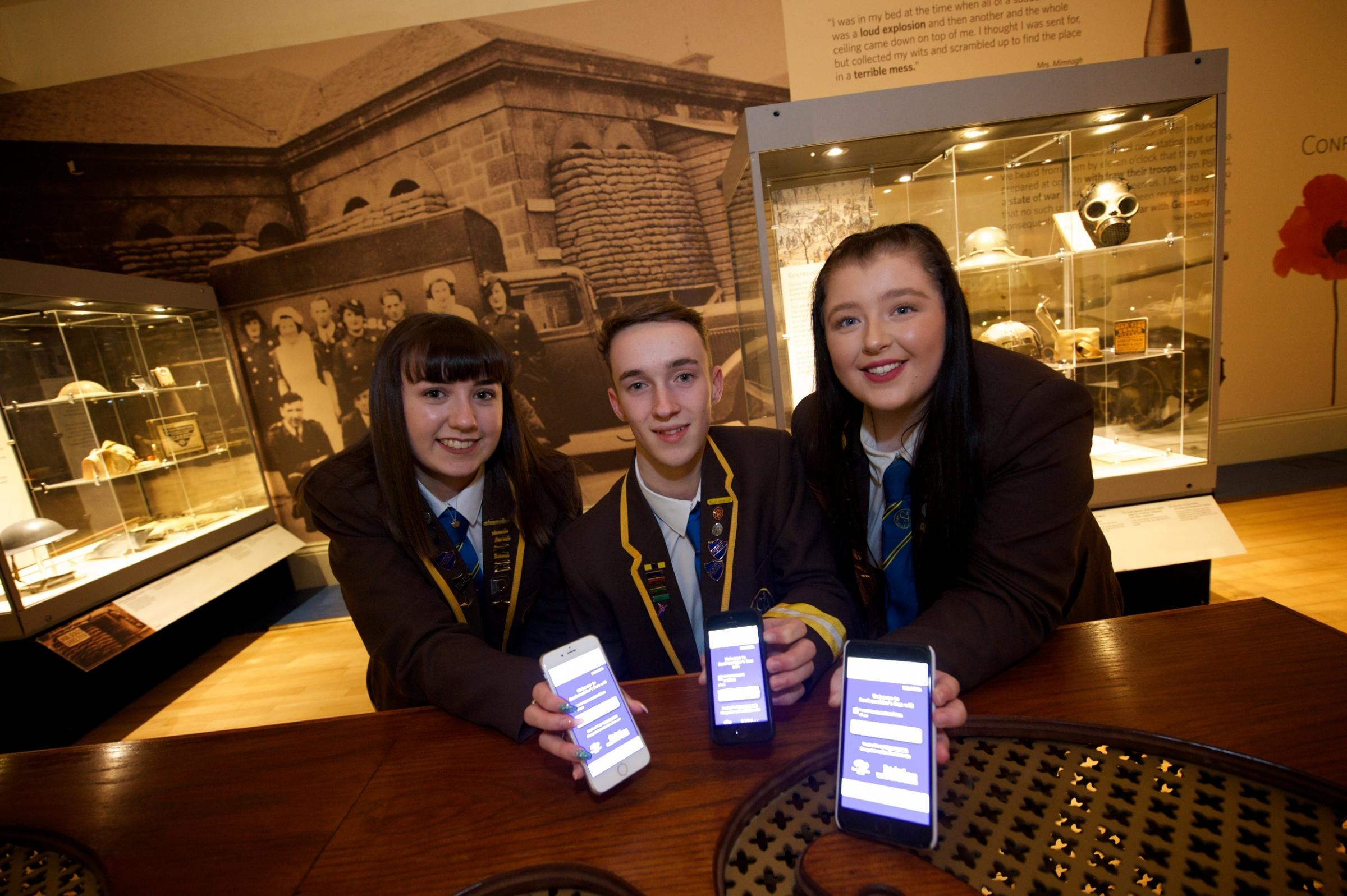 Students in front of museum display (l-r Katie Hughes, Stuart Chawk, Caitlin Donaghy)