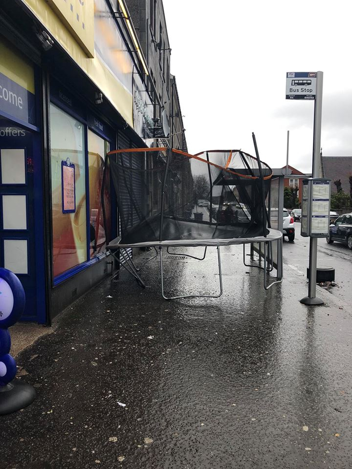 Storm causes trampoline to fly outside Johnstone shop