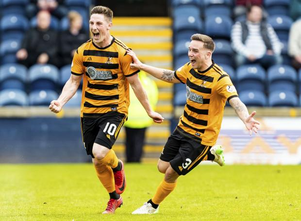 The Gazette: Alloa's Jordan Kirkpatrick, left, celebrates his opener