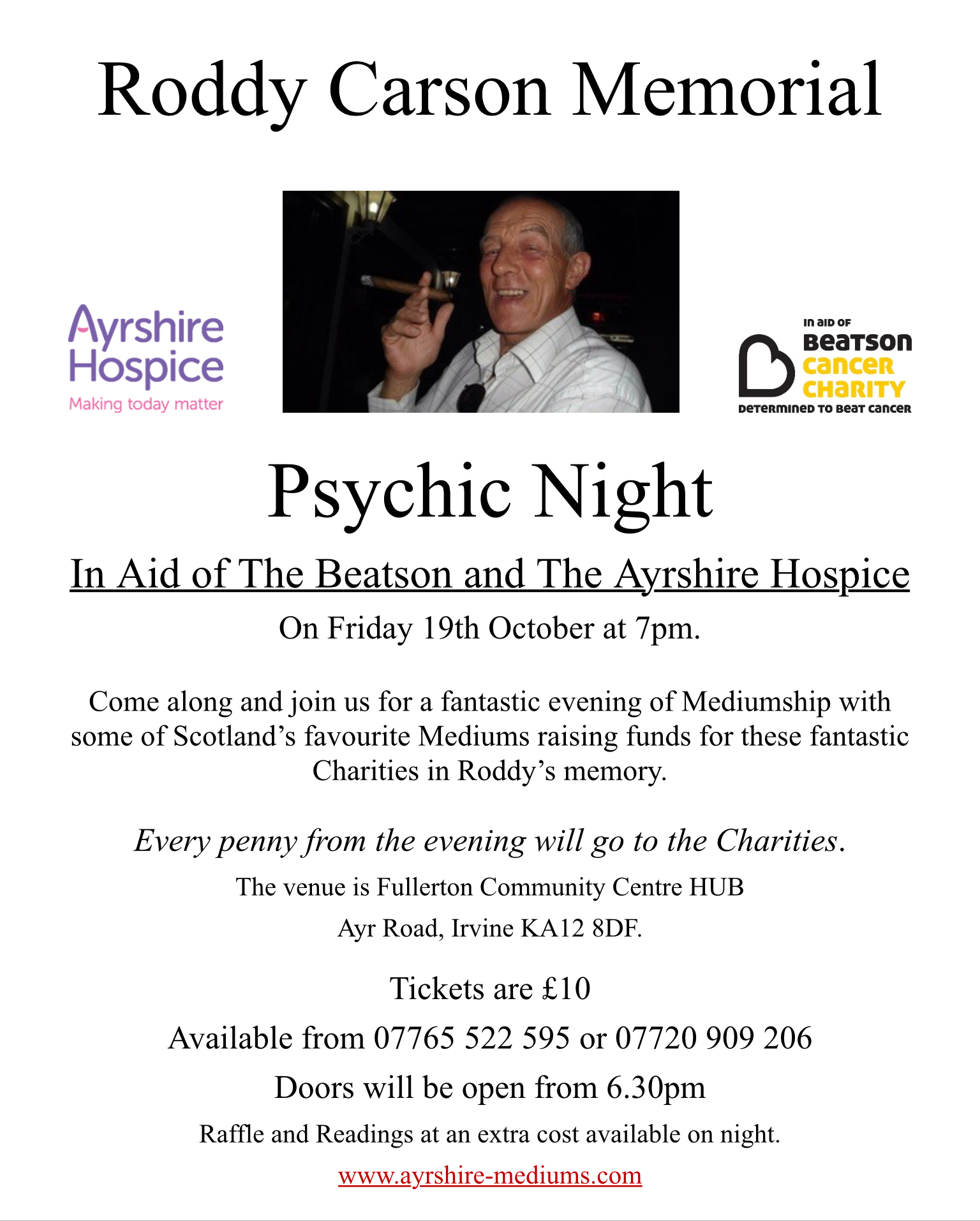 Roddy carson Memorial Psychic Night