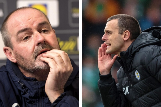 Steve Clarke (left) has brought great success to Kilmarnock. Oran Kearney (right) hopes his Saints can emulate that.