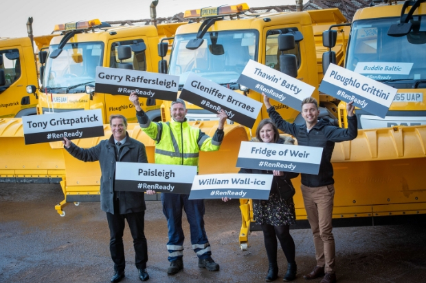 Tony Fitzpatrick, Eric Phillips, Councillor Natalie Don, and Sean Batty with the names of all nine gritters.