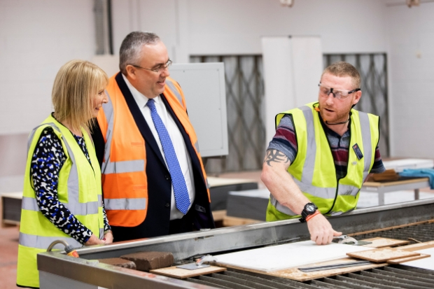 Councillor John Shaw met Gary Jamieson and Michelle Ferguson at Scotland's Bravest Manufacturing Company's production workshop