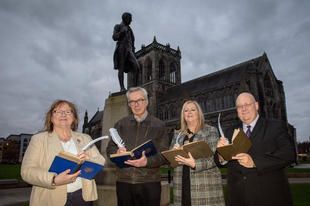 From left to right: Eileen McCartin, Brian Whittingham, Provost Lorraine Cameron and Andy Doig