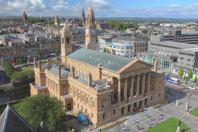 Paisley Town Hall is currently closed as part of £22m reconstruction work