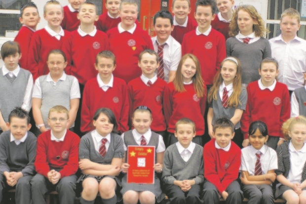 Pupils at Kirklandneuk Primary School with their cookbook