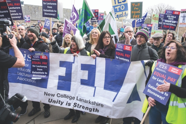 Members of EIS-FELA have previously campaigned outside Holyrood
