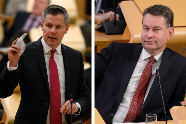 Derek Mackay (left) came under fire from Conservative MSP Murdo Fraser