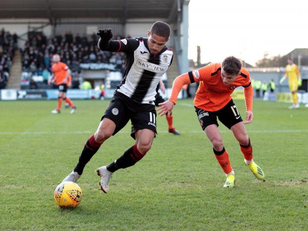 The Gazette: Simeon Jackson takes on Dundee United's Jamie Robson
