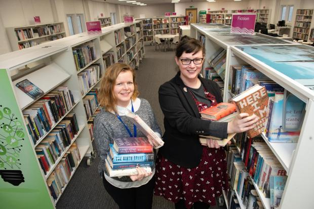 The Gazette: Renfrewshire Leisure's head of cultural services, Morag Macpherson and the organisation's chairperson, Councillor Lisa-Marie Hughes pay a visit to the new temporary library