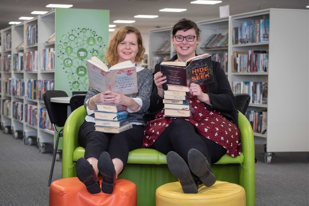 : Renfrewshire Leisure's head of cultural services, Morag Macpherson and the organisation's chairperson, Councillor Lisa-Marie Hughes pay a visit to the new temporary library