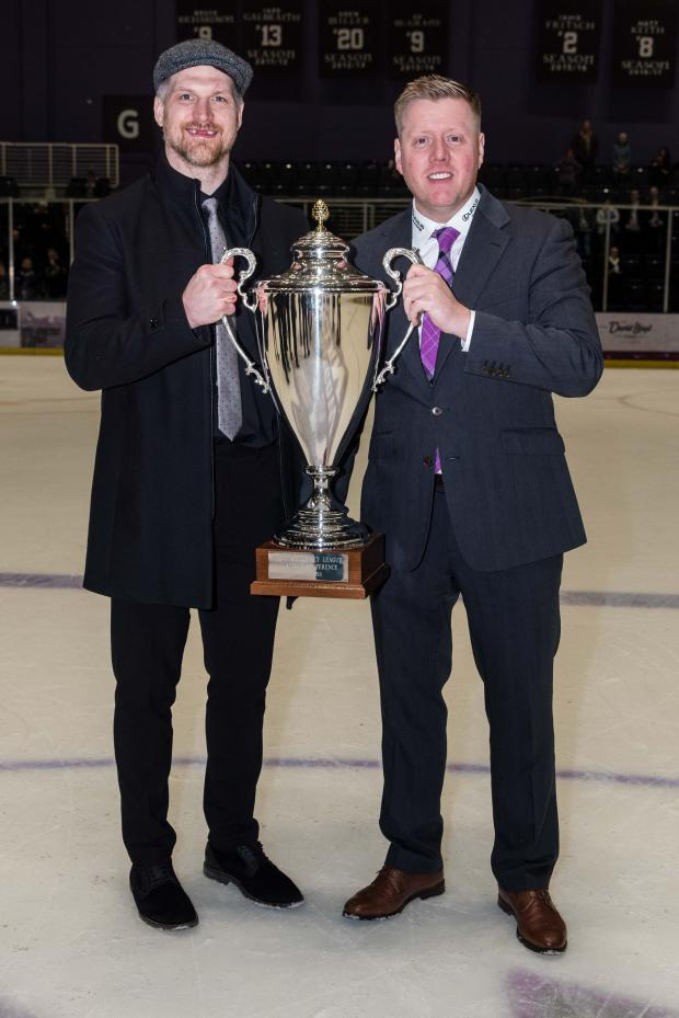 The Gazette: Zack Fitzgerald and coach Pete Russell with the Gardiner Conference trophy