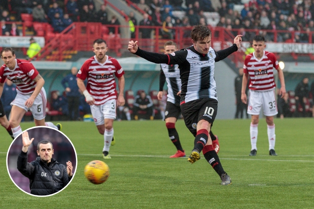 Anders Dreyer slotted home much to the delight of Oran Kearney (insert) Photos: Allan Picken