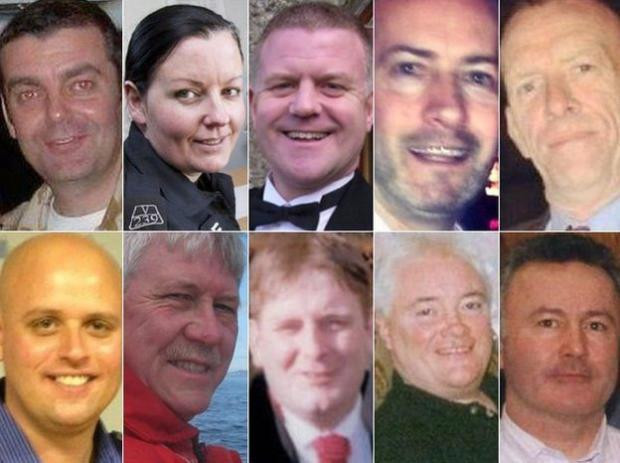 The Gazette: op: left to right) David Traill; PC Kirsty Nelis; PC Tony Collins; Gary Arthur; Samuel McGhee (Bottom: left to right) Colin Gibson; Robert Jenkins; Mark O'Prey; John McGarrigle; Joe Cusker