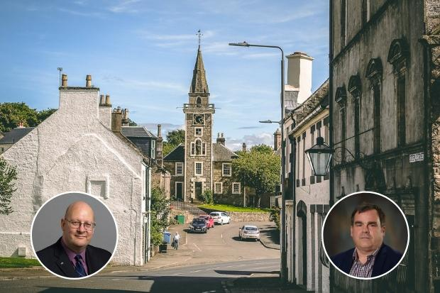 Cllr Andy Doig (left) asked cllr Iain Nicolson for reassurances that places like Kilbarchan (pictured) were not going to be left behind