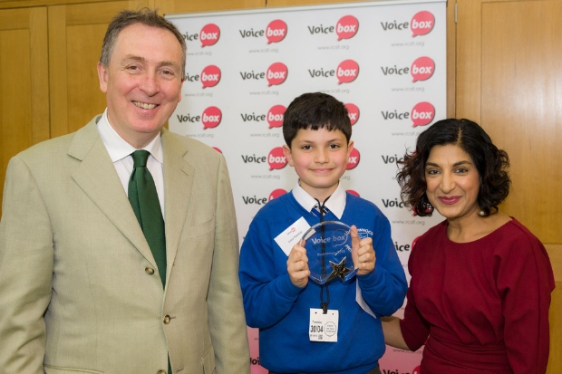 Luca Samrai collected his trophy from Nick Smith MP and Kamini Gadhok, of the RCSLT. Photo: Geoff Wilson