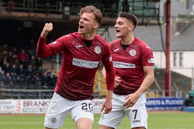 Cody Cooke (left) and Kyle Magennis celebrate during St Mirren's win