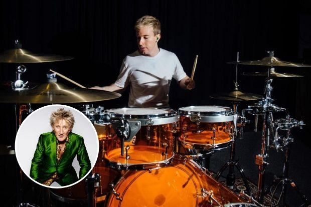 Talented drummer Ryan Hassan can't wait to join Rod Stewart (inset) on stage