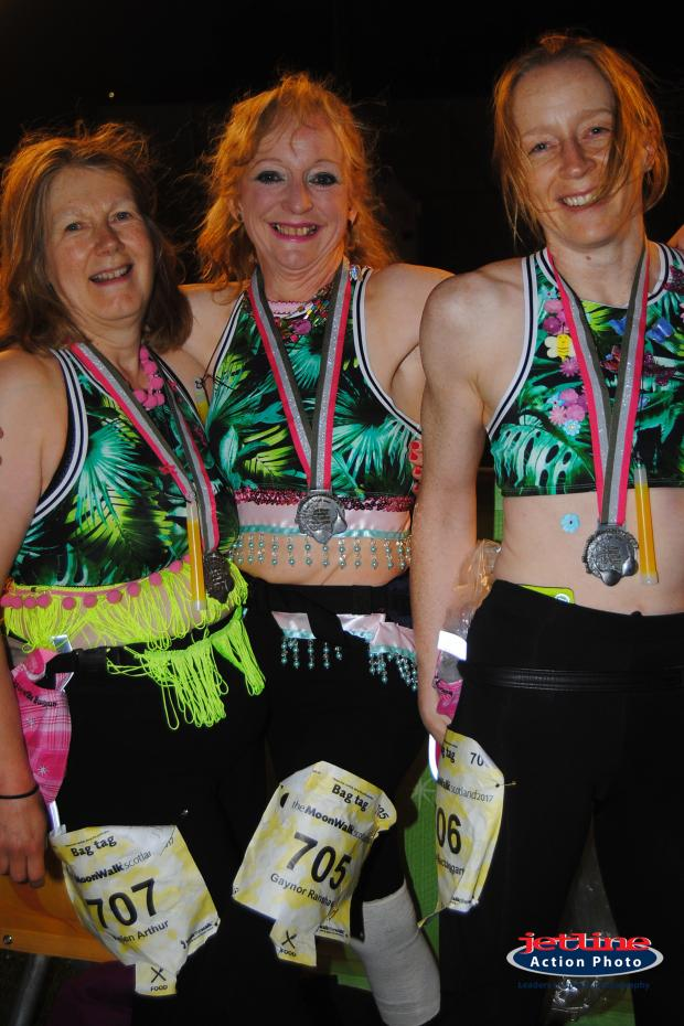 The Gazette: Helen Arthur, Gaynor Ranshaw and their friend Moira Mactaggart after completing the 2017 MoonWalk