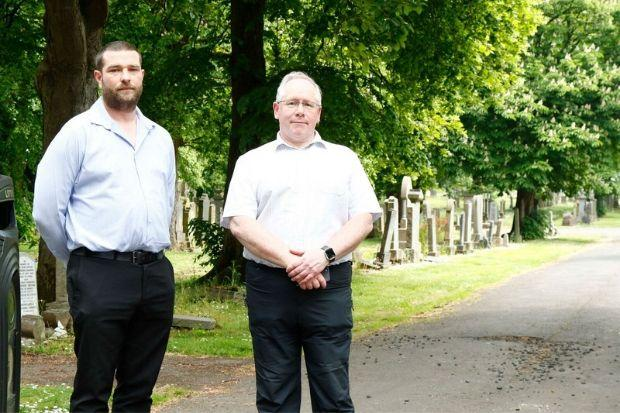 Councillor John McNaughtan and Councillor Will Mylet at Hawkhead Cemetery