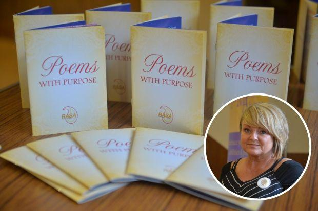 Suzanne Baines', inset, work features in a booklet called Poems with Purpose